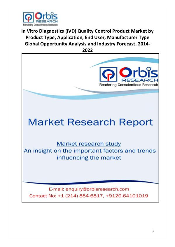 Market Research Reports Global In-Vitro Diagnostics (IVD) QCP Industry