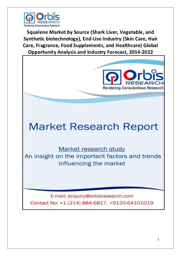 Market Research Reports Squalene Market 2014-2022 Analysis Globally