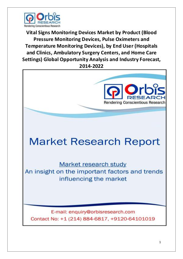 Market Research Reports Worldwide Vital Signs Monitoring Devices Market