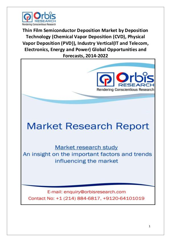 Market Research Reports Thin Film Semiconductor Deposition Market 2022