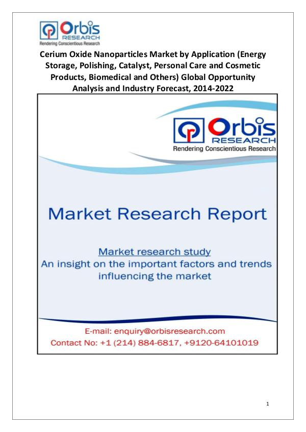 Market Research Reports Cerium Oxide Nanoparticles Industry Worldwide