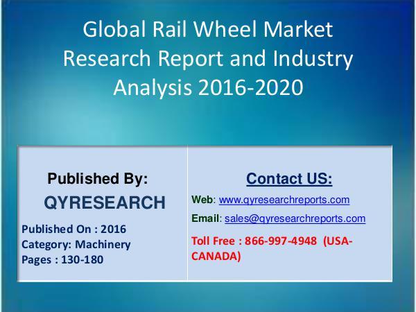 Global Rail Wheel Industry 2016 Market : North America, Europe, China 5