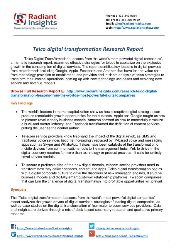 Research Analysis Reports Telco digital transformation