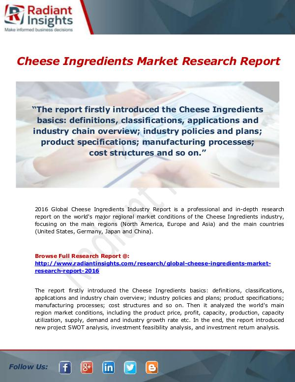 Research Analysis Reports Cheese Ingredients Market
