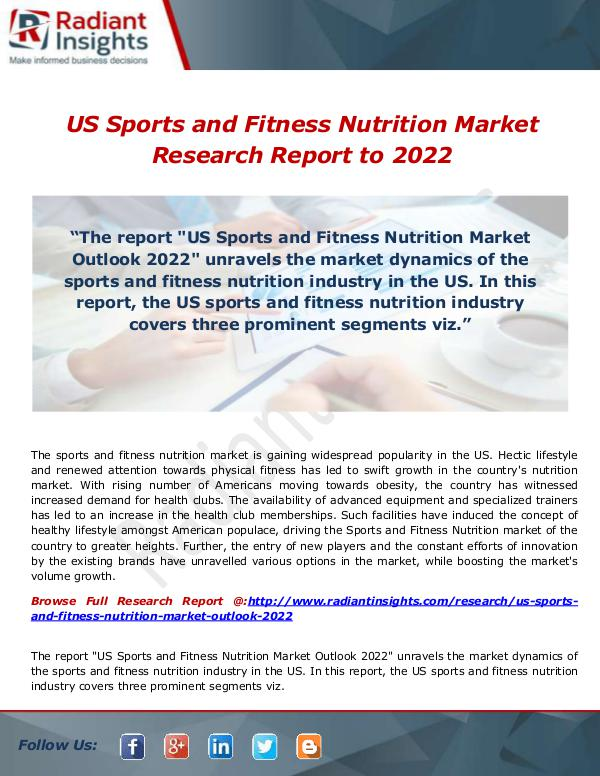US Sports and Fitness Nutrition Market 2022- Estim