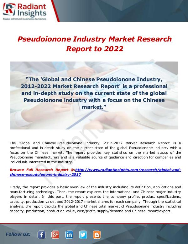 Research Analysis Reports Pseudoionone Industry Market Research Report to 20