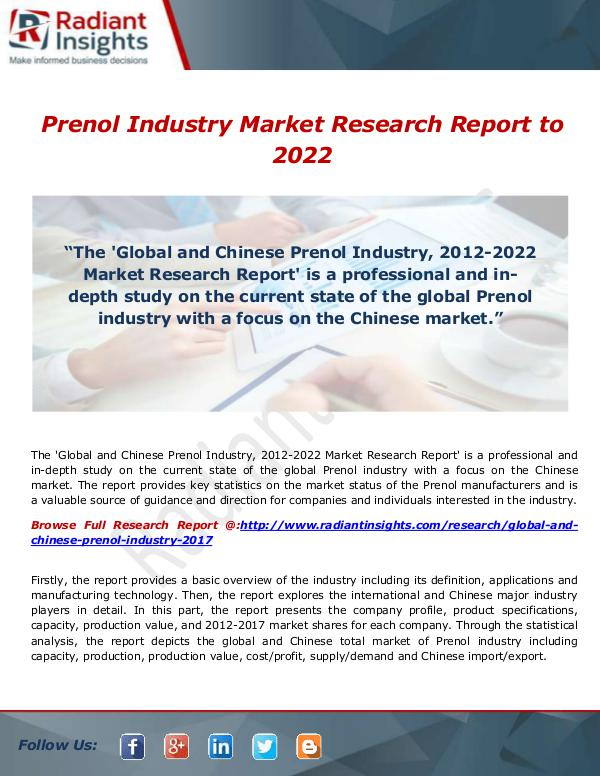 Prenol Industry Market Research Report to 2022
