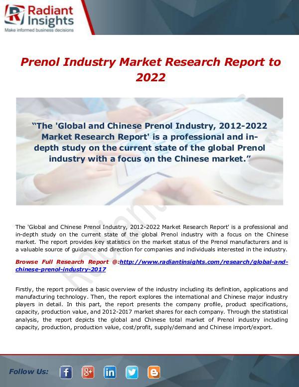 Prenol Industry Market Research Report to 2022