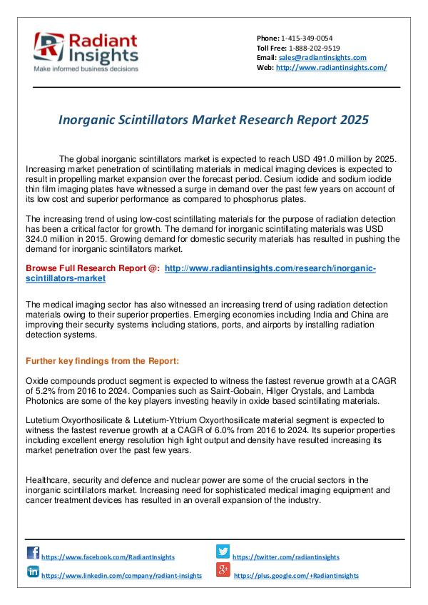 Research Analysis Reports Inorganic Scintillators Market Research Report
