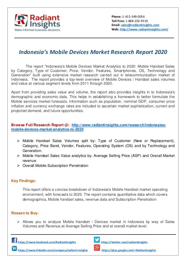 Research Analysis Reports Indonesia's Mobile Market Research Report