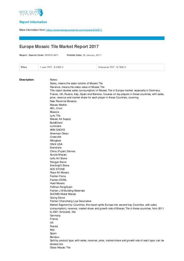 Europe mosaic tile market report 2017 Mosaic Tile Market