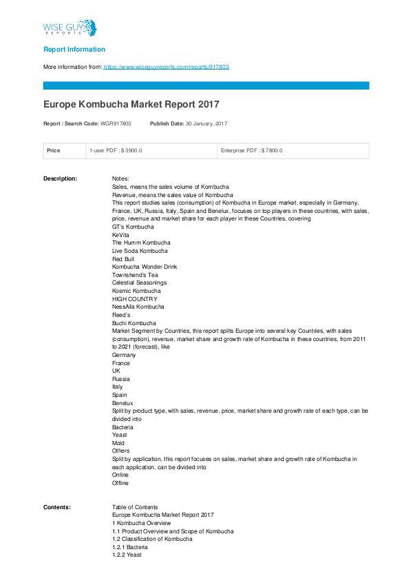 Europe Kombucha Market Report 2017 Kombucha Market