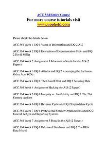 ACC 564 Endless Education /uophelp.com