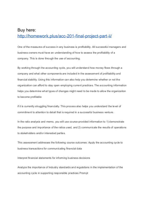 ACC 201 Final Project Part II SNHU
