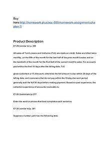 ACC 500 Homework Assignment - Chapter 7