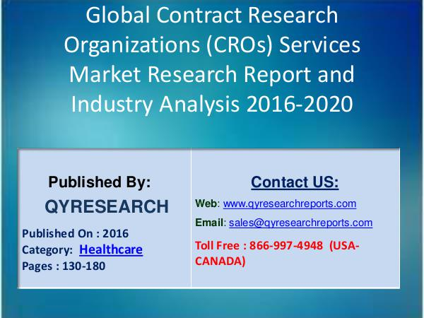 Global BIPV Market 2016 Analysis, Regional Outlook and Strategies Contract Research Organizations Services Market