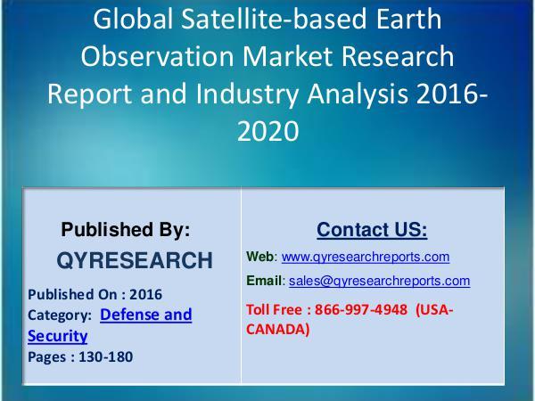Global BIPV Market 2016 Analysis, Regional Outlook and Strategies Global Satellite-based Earth Observation Market