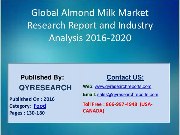 Global Almond Milk Industry 2016 : Revenue, Production and Analysis 7