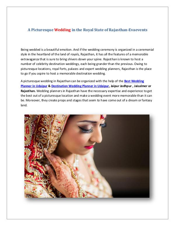A Picturesque Wedding in the Royal State of Rajasthan-Evaevents A Picturesque Wedding in the Royal State of Rajast