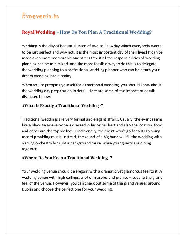 Royal Wedding – How Do You Plan A Traditional Wedding? Royal Wedding – How Do You Plan A Traditional Wedd