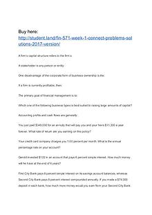 FIN 571 Week 1 Connect Problems Solutions (2017 version)