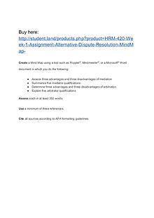HRM 420 Week 1 Assignment Alternative Dispute Resolution MindMap