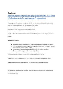 REL 133 Week 5 Assignment Current Issues Presentation