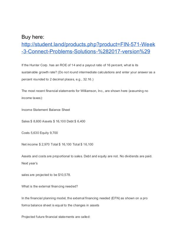 FIN 571 Week 3 Connect Problems Solutions (2017 version) Homework