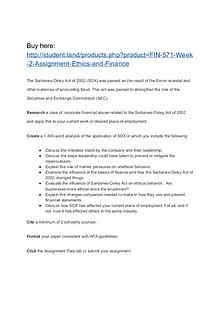 FIN 571 Week 2 Assignment Ethics and Finance