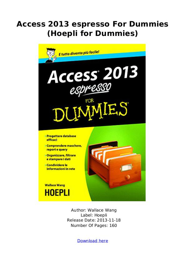 [DOWNLOAD] PDF [DOWNLOAD] PDF Access 2013 espresso For Dummies (H