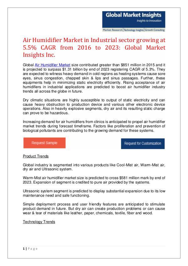 Air humidifier Market Forecast Air Humidifier Market