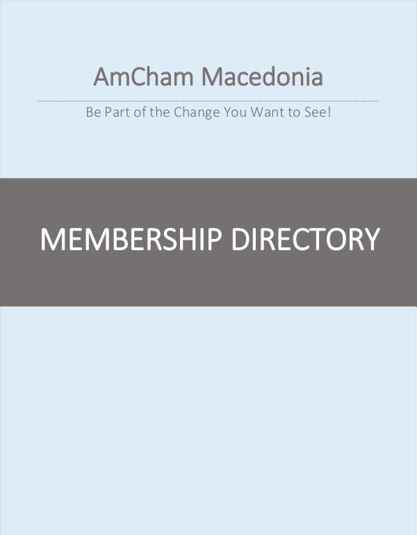 AmCham Macedonia Membership Directory 2016