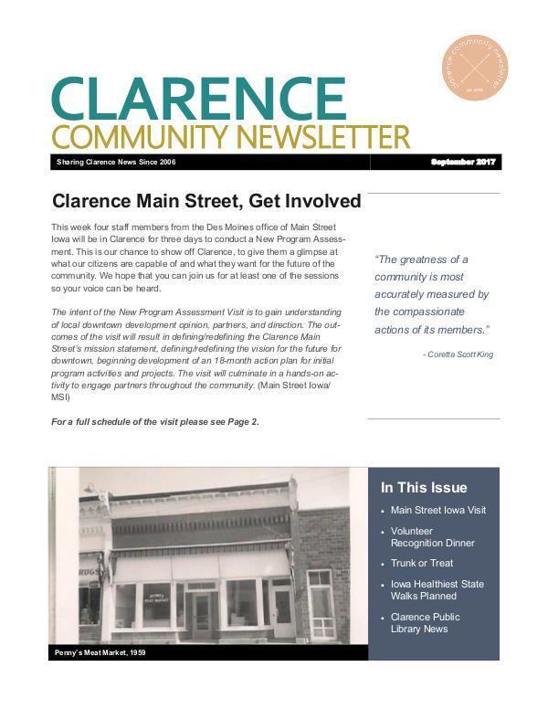 Clarence Cardinal Newlsetter Clarence Community Newsletter--September 2017