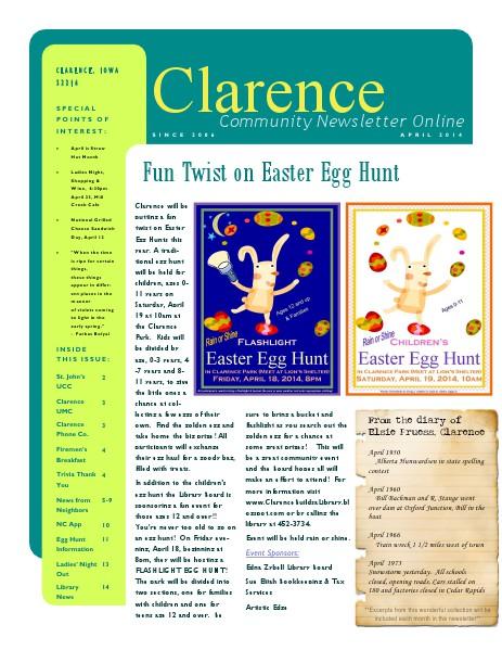 Clarence Cardinal Newlsetter April 2014
