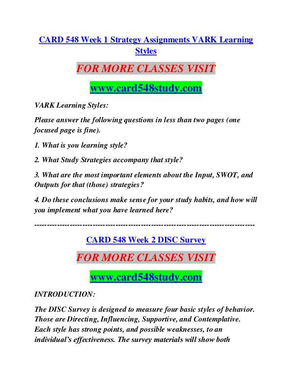 CARD 548 STUDY Career Begins/card548study.com CARD 548 STUDY Career Begins/card548study.com