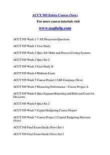 ACCT 505 Endless Education /uophelp.com