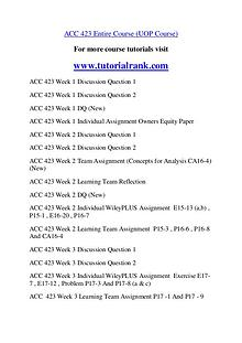 ACC 423  Course Great Wisdom / tutorialrank.com