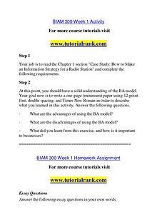 BIAM 300 Course Great Wisdom / tutorialrank.com