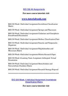 BIO 330 Course Great Wisdom / tutorialrank.com