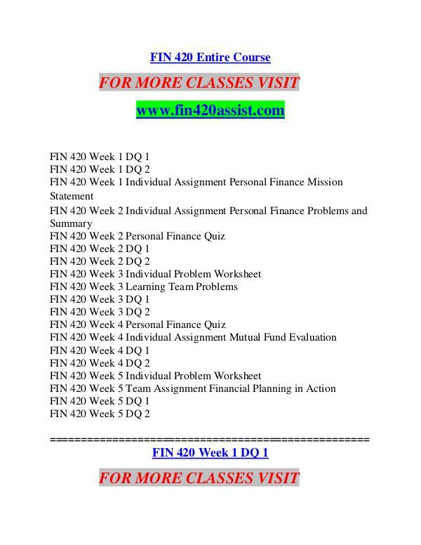 FIN 420 ASSIST Future Starts Here/fin420assist.com FIN 420 ASSIST Future Starts Here/fin420assist.com