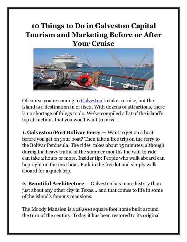 10 Things to Do in Galveston Capital Tourism and M