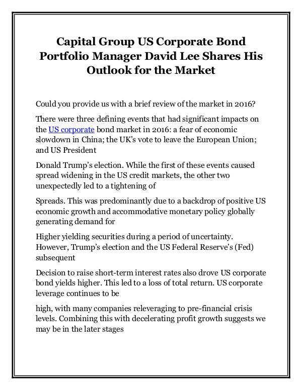 Capital Group US Corporate Bond Portfolio Manager