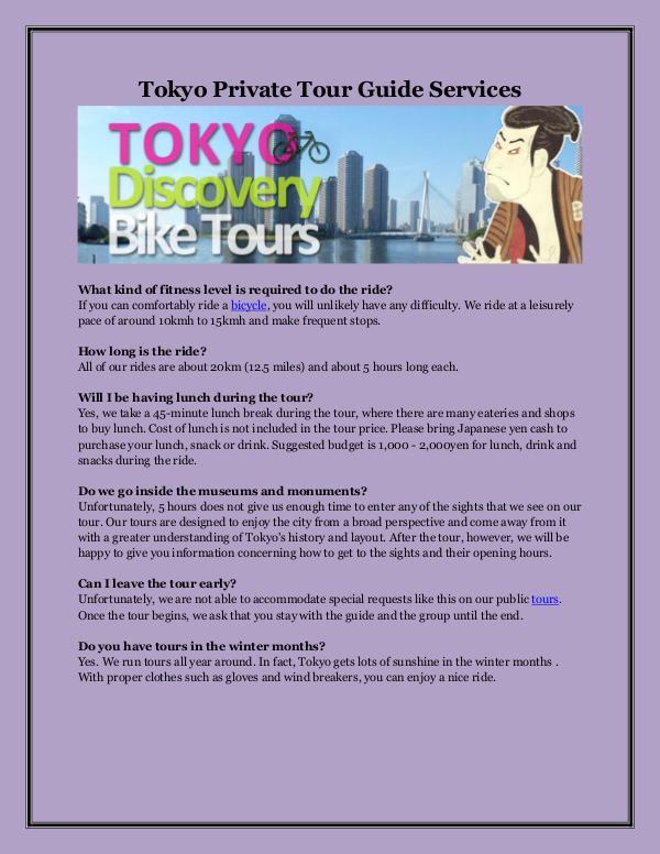 Tokyo Private Tour Guide Services