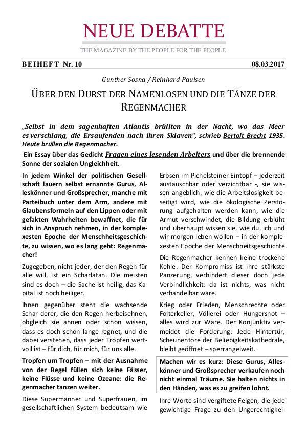 Neue Debatte - Beiheft #010 - 04/2017 Der Durst der Namenlosen und Bertolt Brecht