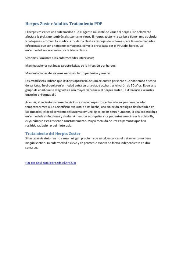 Mi primera revista Herpes Zoster Adultos Tratamiento PDF
