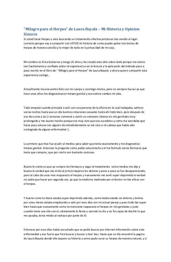 """Mi primera revista """"Milagro para el Herpes"""" de Laura Bayala – Mi Hist"""