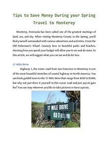 Tips to Save Money During your Spring Travel to Monterey