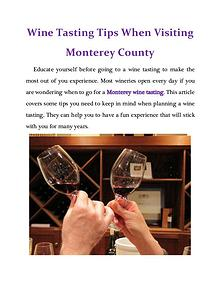 Wine Tasting Tips When Visiting Monterey County
