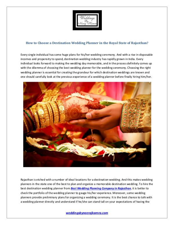 How to Choose a Destination Wedding Planner in the Royal State of Raj How to Choose a Wedding Planner for your Destinati