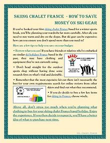 Skiing Chalet France  - How To Save Money On Ski Gear